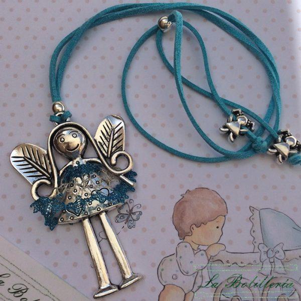 Colgante Muñeca con Vestido Azul y Plata