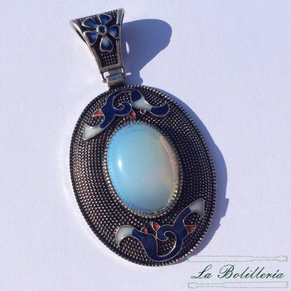 Colgante Medallón Ovalado Azules