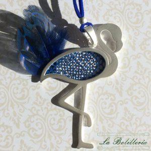 Colgante Flamenco Plata y Azul