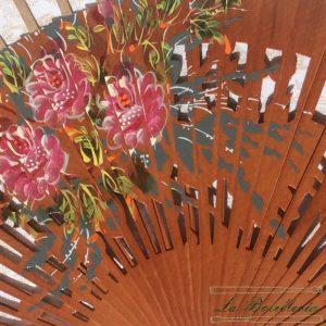 Varillas Abanico Flores Calado Avellana