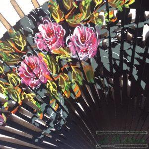 Varillas Abanico Flores Calado Negro