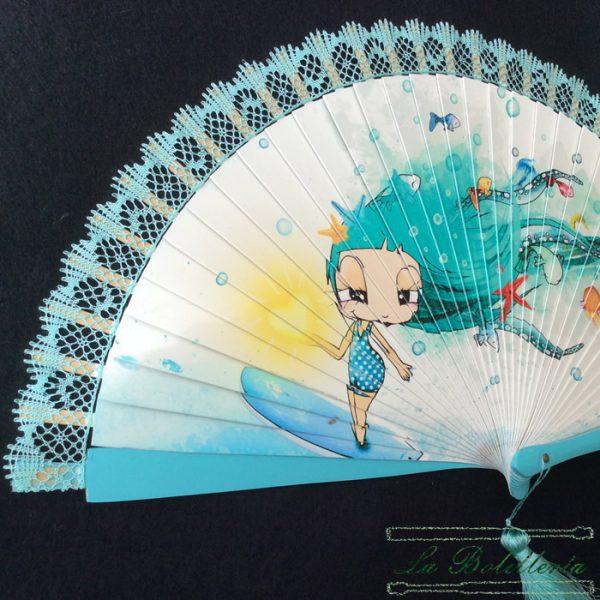 Abanico Verano Azulado - La Bolillería - Tu lugar para el Arte de los Bolillos