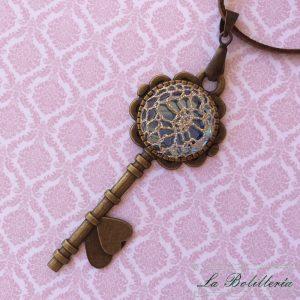Colgante Llave Corazón Azul - La Bolillería - Tu lugar para el Arte de los Bolillos