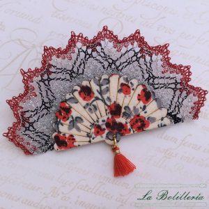 Broche Abanico Flores Rojas - La Bolillería - Tu Lugar para el Arte de Los Bolillos