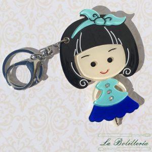 Llavero/Espejo Muñeca en Azul - La Bolillería - Tu lugar para el Arte de los Bolillos