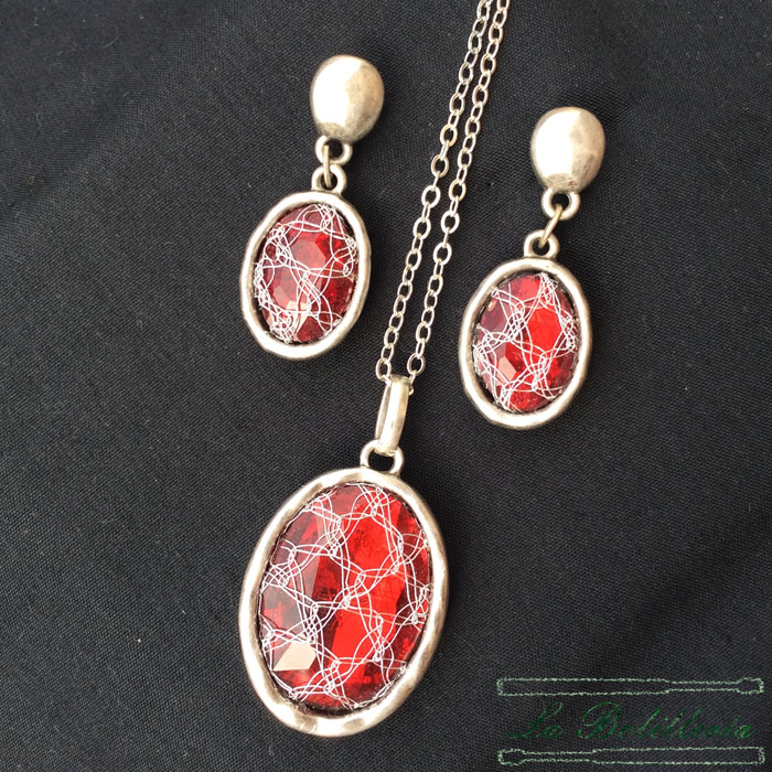Collar y Pendientes Cristal - La Bolillería - Tu Lugar para el Arte de Los Bolillos