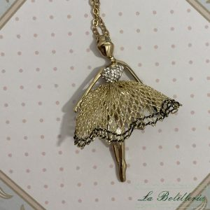 Collar Bailarina Ballet Dorado - La Bolillería - Tu Lugar para el Arte de Los Bolillos