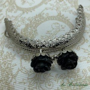 Cierre Abanico Rosas Negro - La Bolillería Tu Lugar para el Arte de Los Bolillos