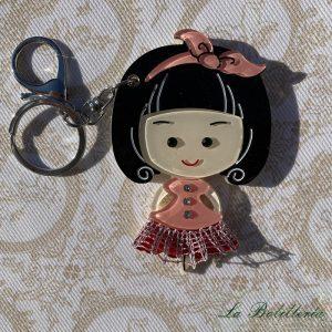 Llavero/Espejo Muñeca en Rosa - La Bolillería - Tu lugar para el Arte de los Bolillos