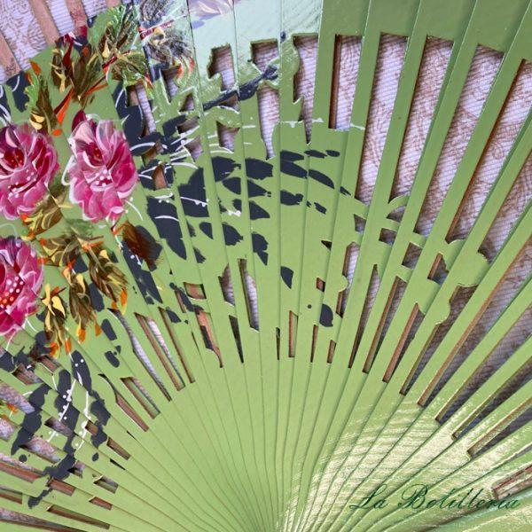 Varillas Abanico Flores Calado Verde - La Bolillería - Tu Lugar para el Arte de los Bolillos