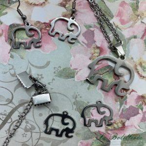 Conjunto Collar, Pendientes y Kit Pulsera Elefante - La Bolillería - Tu Lugar para el Arte de Los Bolillos